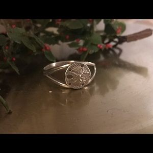 "Jewelry - ""925"" Sterling Silver Sand Dollar Ring, Size 7.5"""